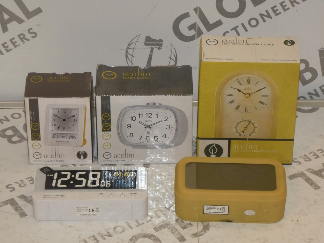 Lot to Contain 5 Assorted Boxed and Unboxed Acctim Alarm Clocks and Mantle Clocks Combined RRP £