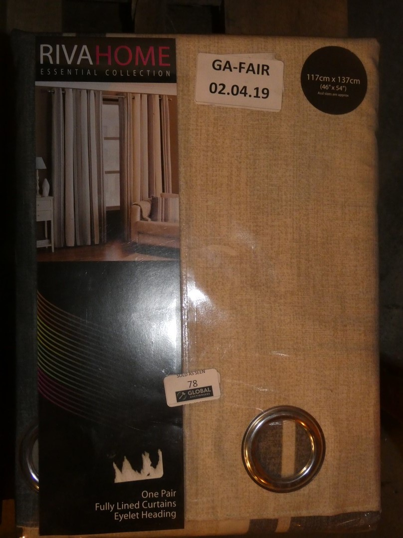 Lot 78 - Lot to Contain 3 Pairs of Riva Home 46 x 54Inch Striped Eyelet Headed Curtains