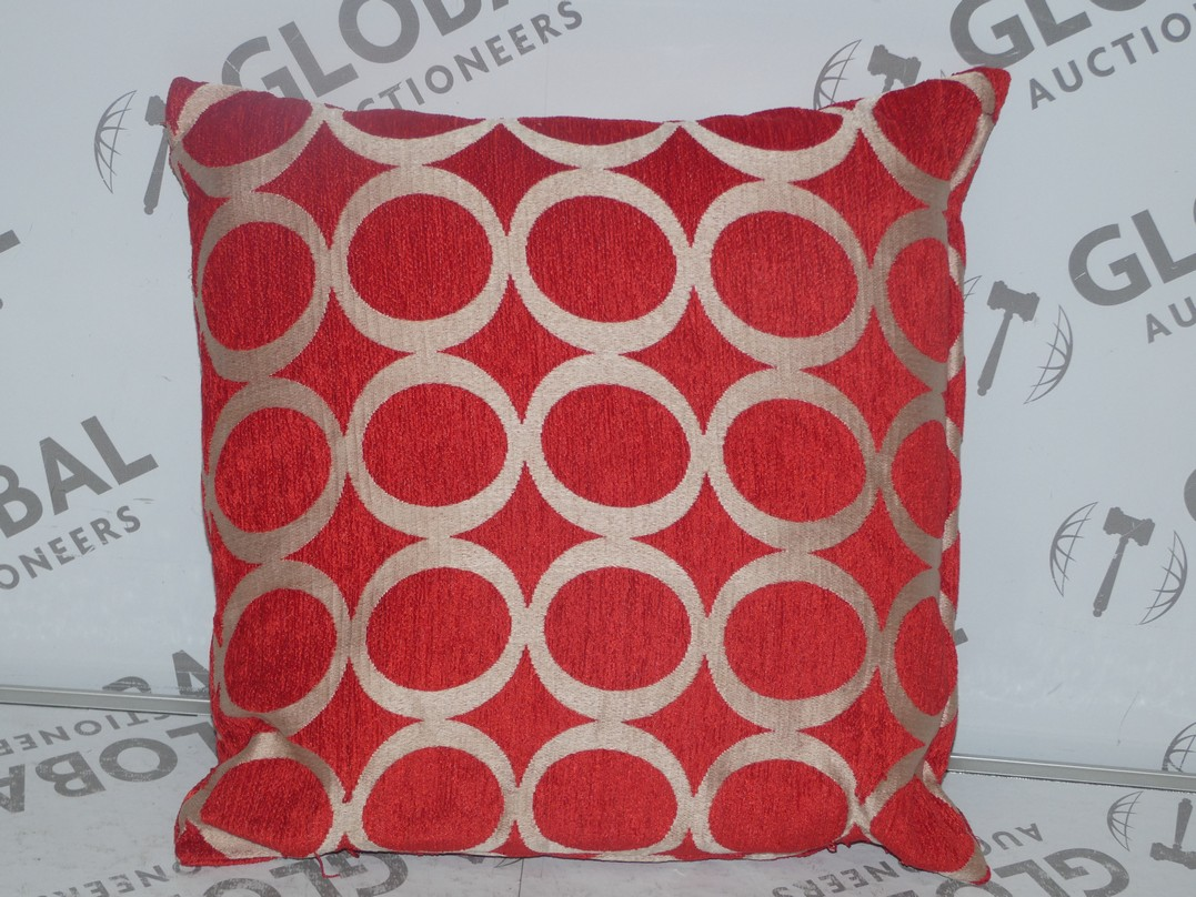 Lot 86 - Lot to Contain 3 Red and Gold Designer Scatter Cushions