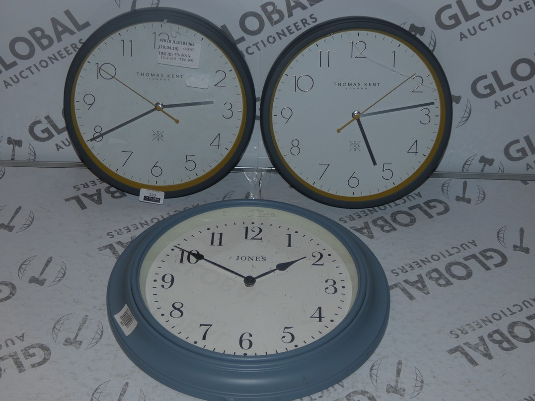 Lot 120 - Lot to Contain 3 Assorted Jones and Thomas Kent Collection Grey Circular Painted Wall Clocks RRP £80