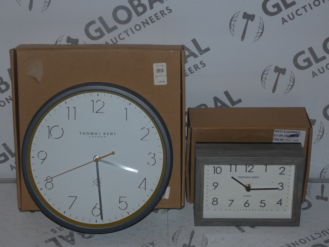 Lot 119 - Lot to Contain 2 Boxed Thomas Kent Rectangular Mantle Clocks and Circular Wall Clocks Combined