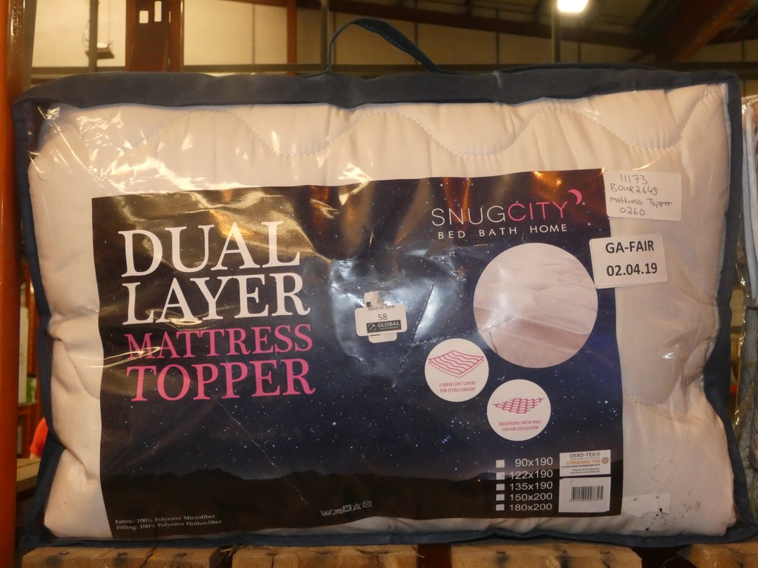 Lot 58 - Snug City Dual Layer Mattress Topper RRP £30 (BOUR2645)(11173)