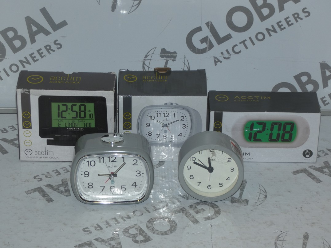 Lot 47 - Lot to Contain 5 Assorted Boxed and Unboxed Acctim Alarm Clocks and Mantle Clocks Combined RRP £