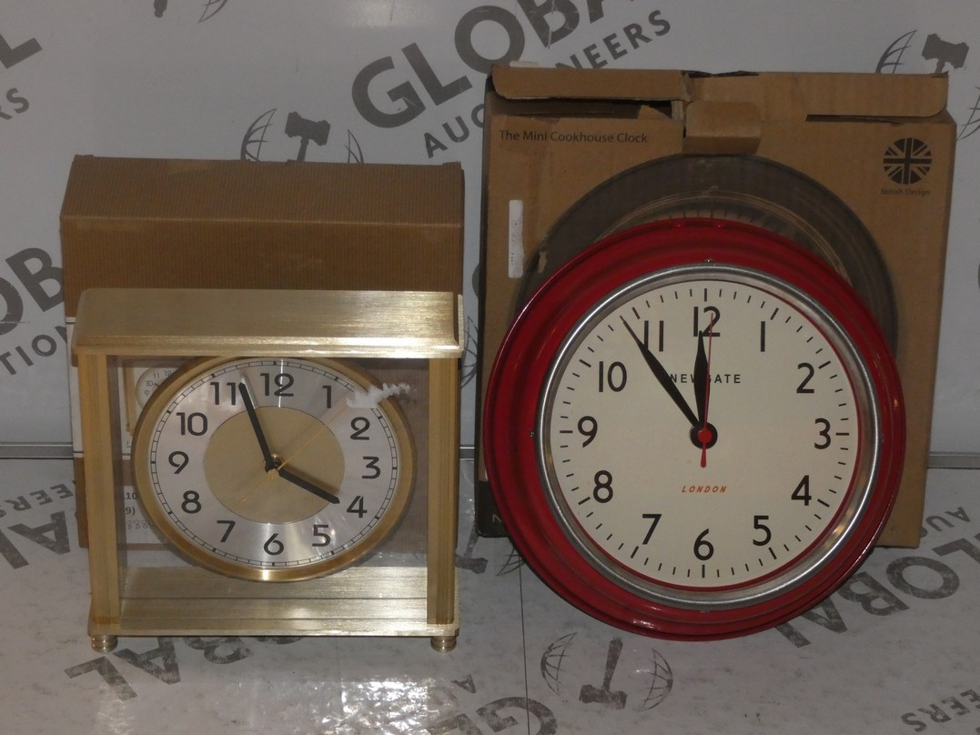 Lot 100 - Lot to Contain 2 Assorted Boxed Newgate and London Clock Company Wall Clocks and Mantle Clocks