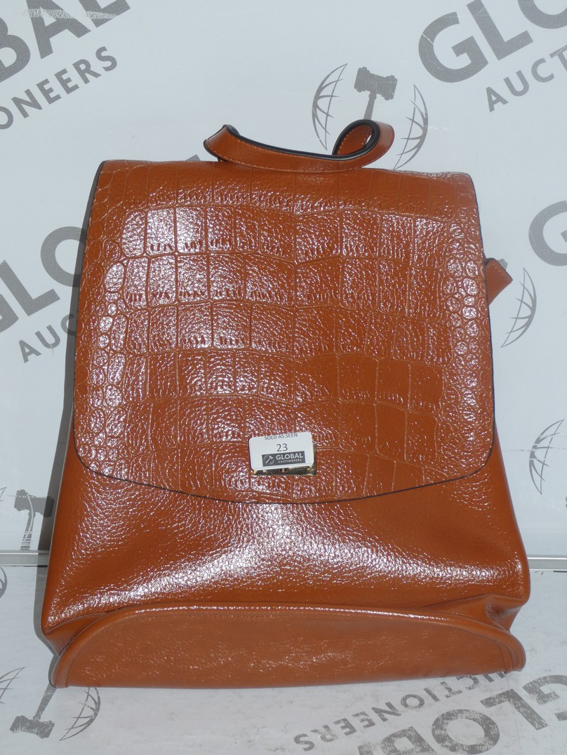 Lot 23 - Brand New Coolives Women's Tan Leather Backpack RRP £50