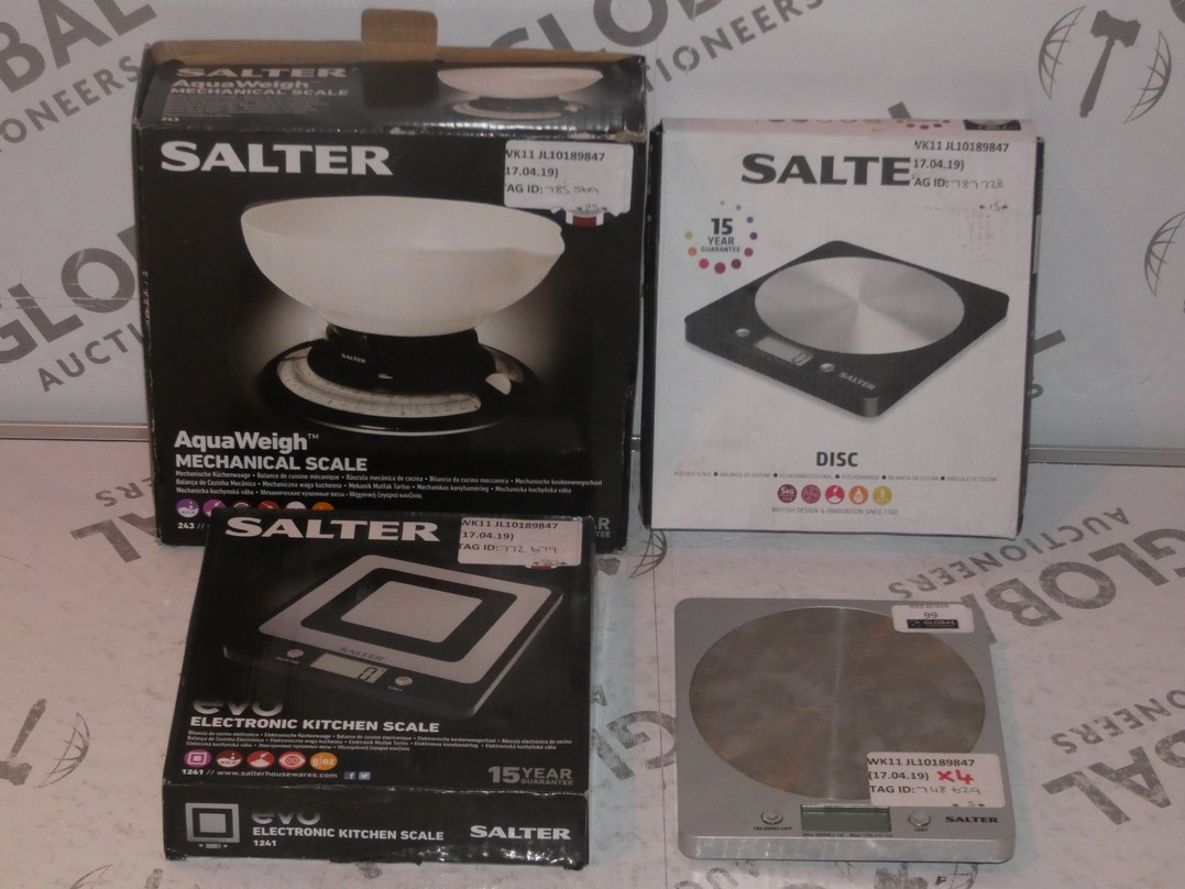 Lot 99 - Lot to Contain 4 Assorted Boxed and Unboxed Pairs of Salter Digital Kitchen Scales Combined RRP £