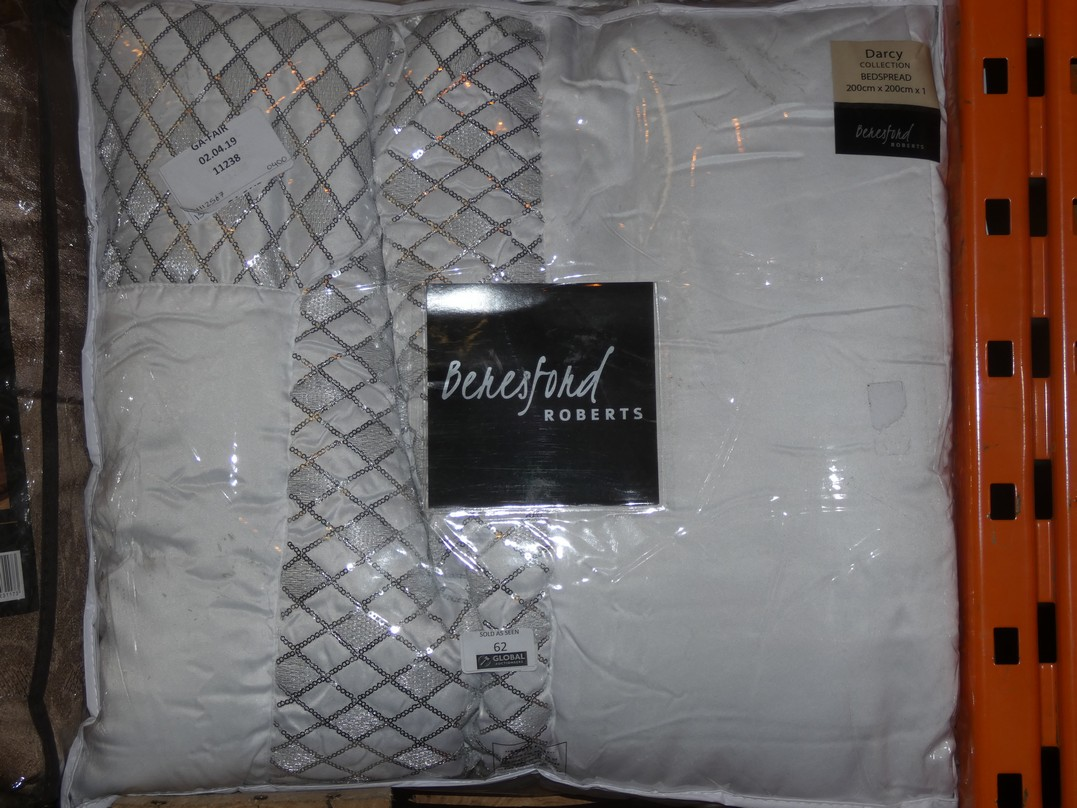 Lot 62 - Beresford Roberts White and Silver Darcy Collection 200 x 200cm Bedspread RRP £40 (15112567)(11238)