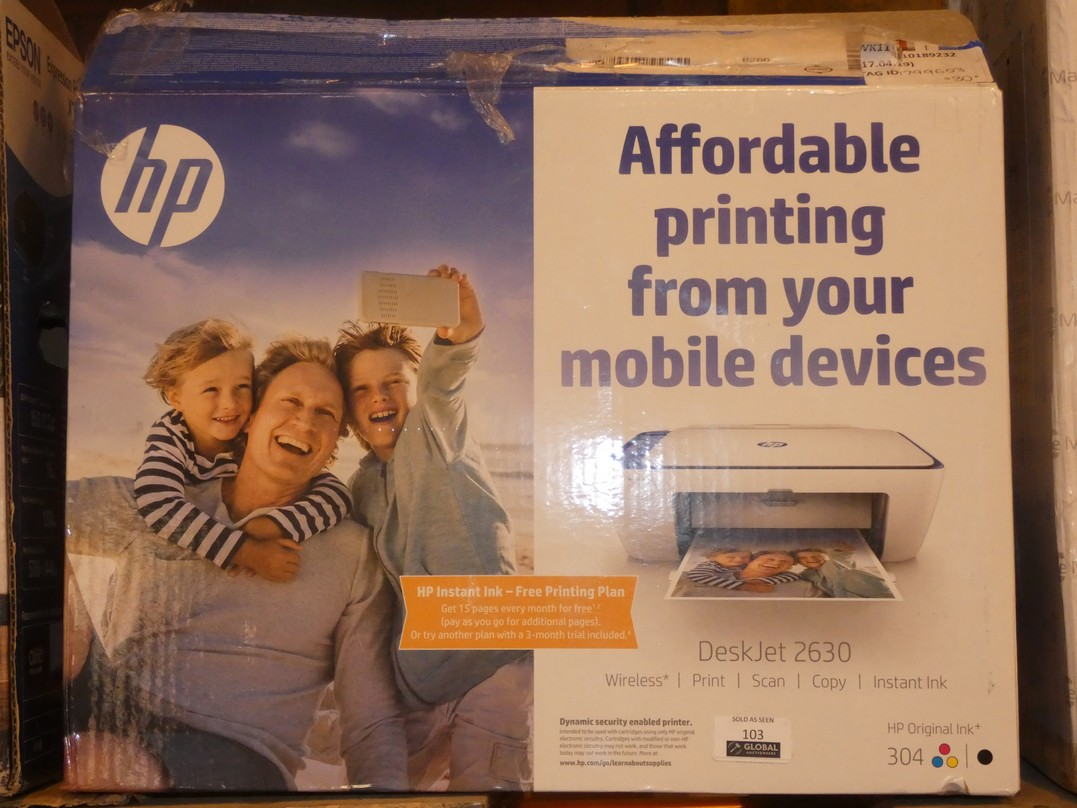 Lot 103 - Boxed HP Deskjet 2630 All In One Printer, Scanner, Copier RRP £35 (799603)