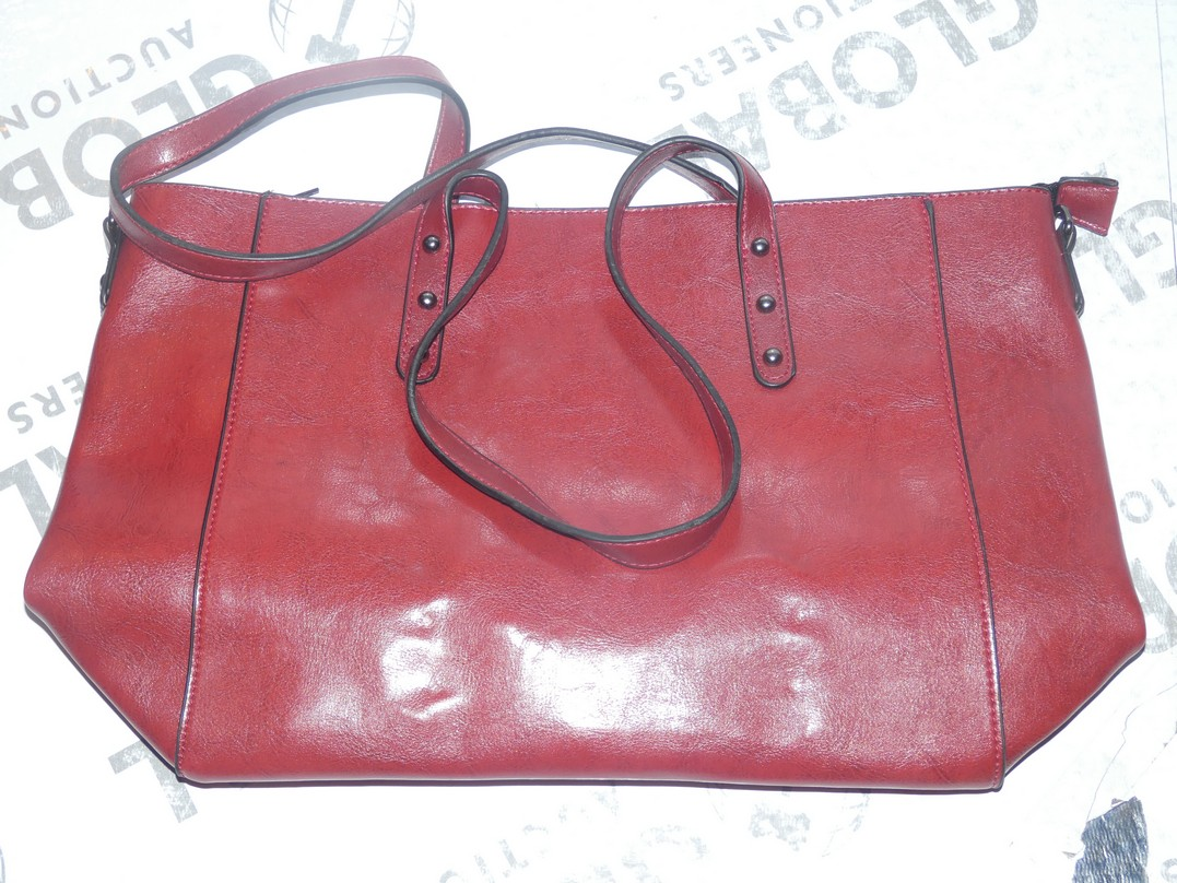 Lot 114 - Brand New Women's Coolives Oxblood Red Leather Designer Shoulder Bag RRP £50