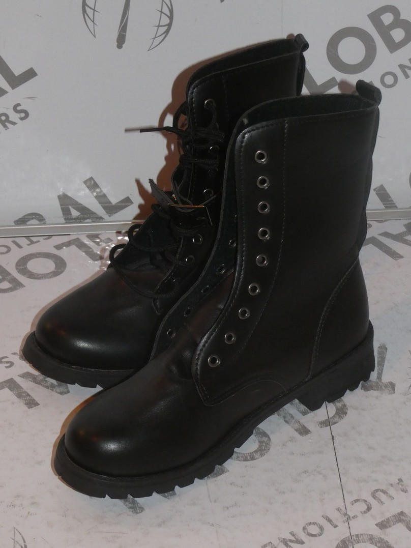 Lot 96 - Lot to Contain 2 Pairs of Ladies Black Lace Up Designer Boots in Sizes EU37 and EU41