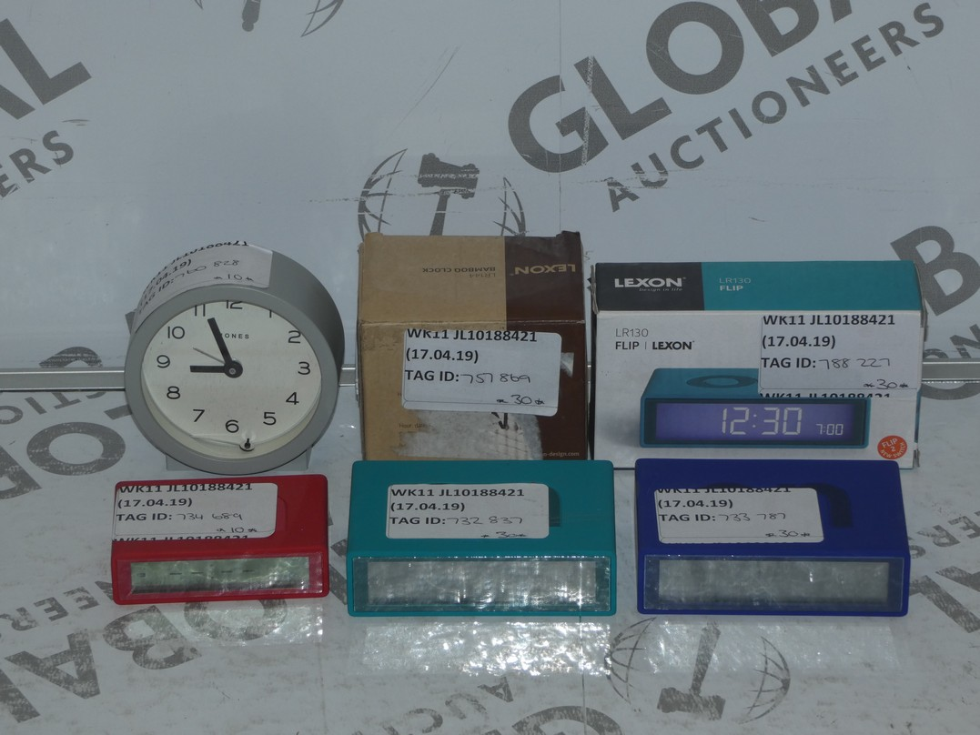 Lot 41 - Lot to Contain 6 Assorted Boxed and Unboxed Lexon Alarm Clocks and Jones Mantle Clocks Combined