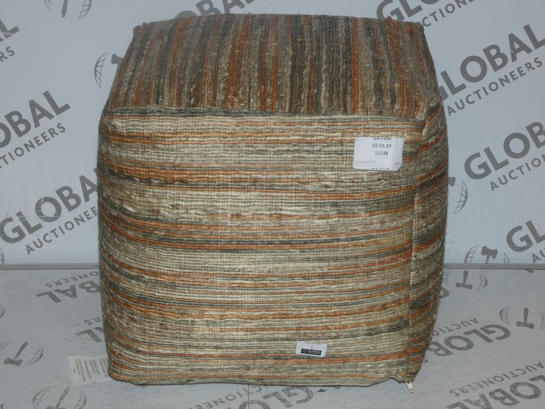 Lot 1 - Besp-oke Natural Weave Beige and Orange Pouffe RRP £80 (151501139)(11238)