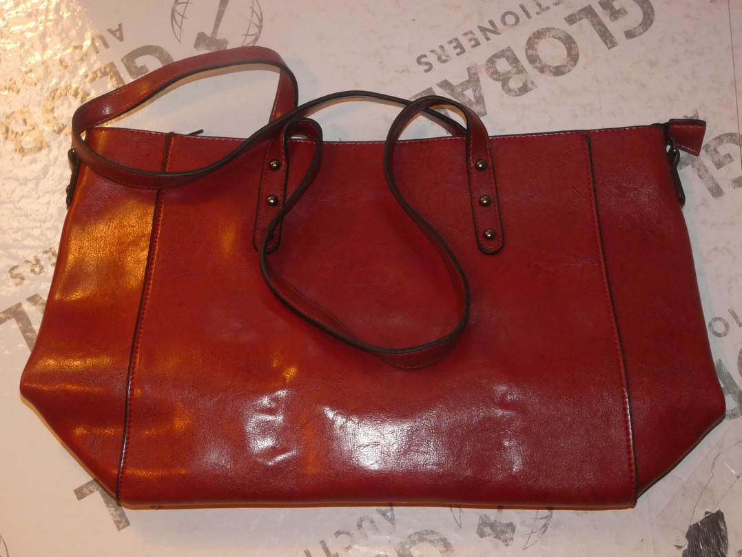 Lot 111 - Brand New Women's Coolives Oxblood Red Leather Designer Shoulder Bag RRP £50