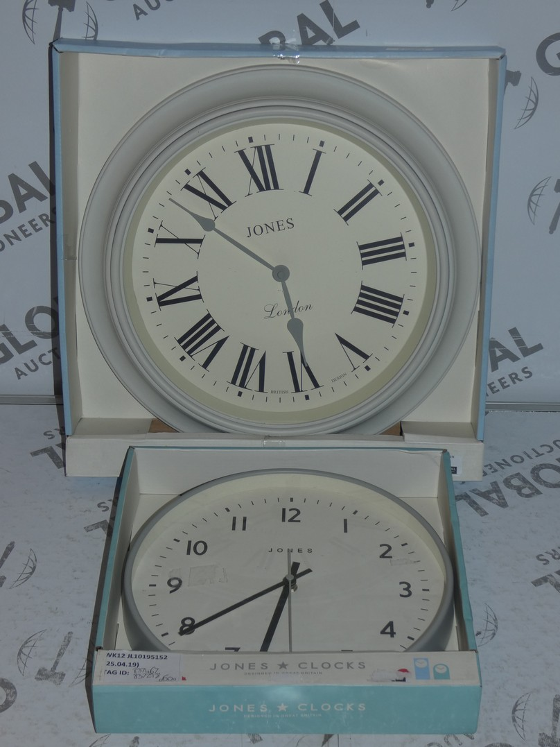 Lot 117 - Lot to Contain 2 Jones Grey Painted Circular Designer Wall Clocks Combined RRP £60 (837467)(837298)