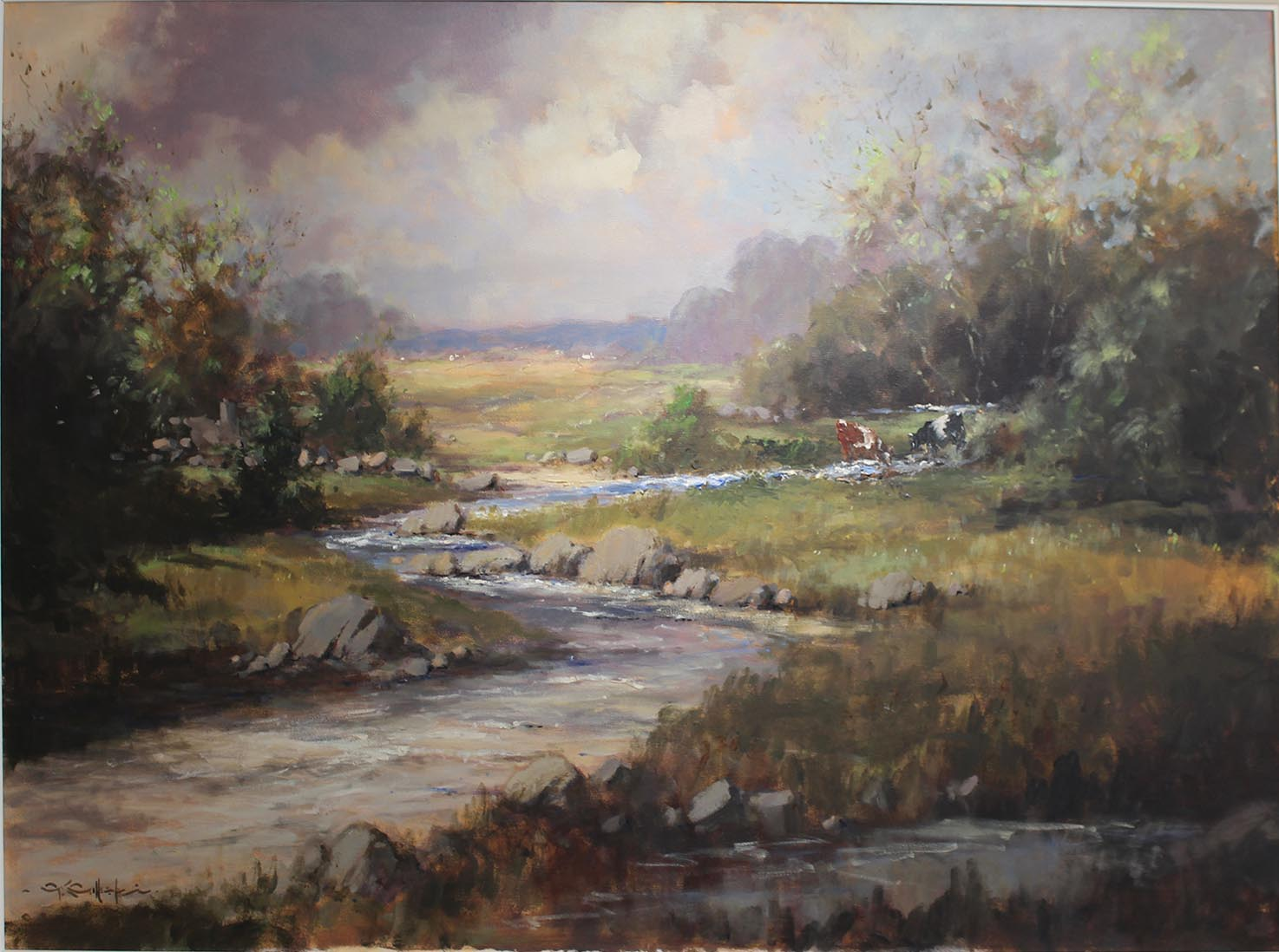 Lot 23 - George K. Gillespie RUA 1924-1995 THE BURN, NEAR KILLEN, CASTLEDERG, CO. TYRONE Oil on canvas,