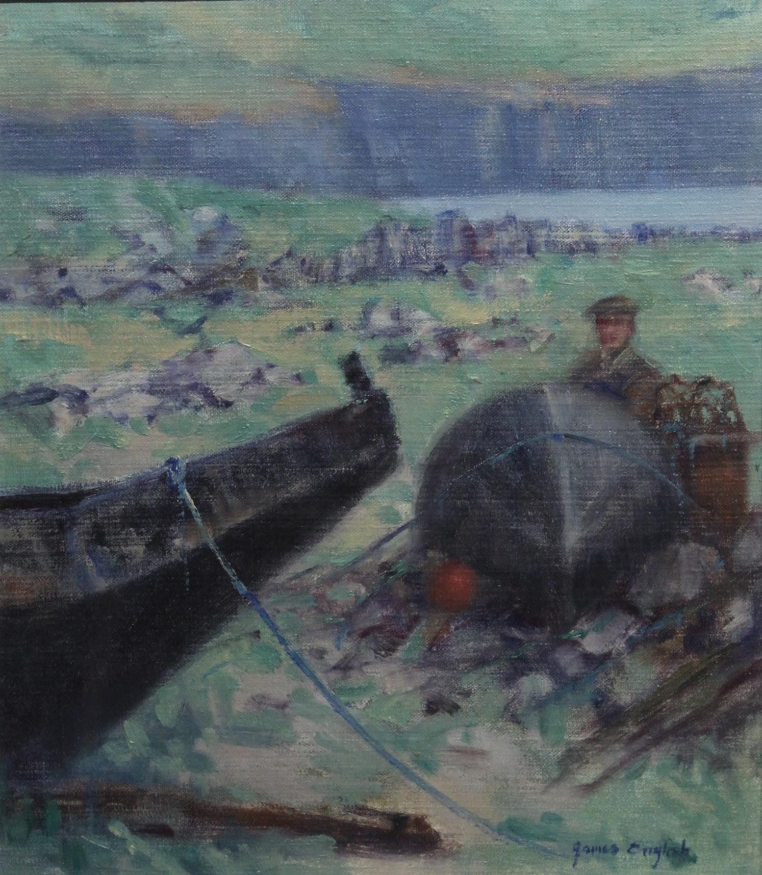 "Lot 2 - James English DOOLIN CURRACHS Oil on canvas, stretched on board, 12"" x 9 3/4"" (30.5 x 24.8 cm),"