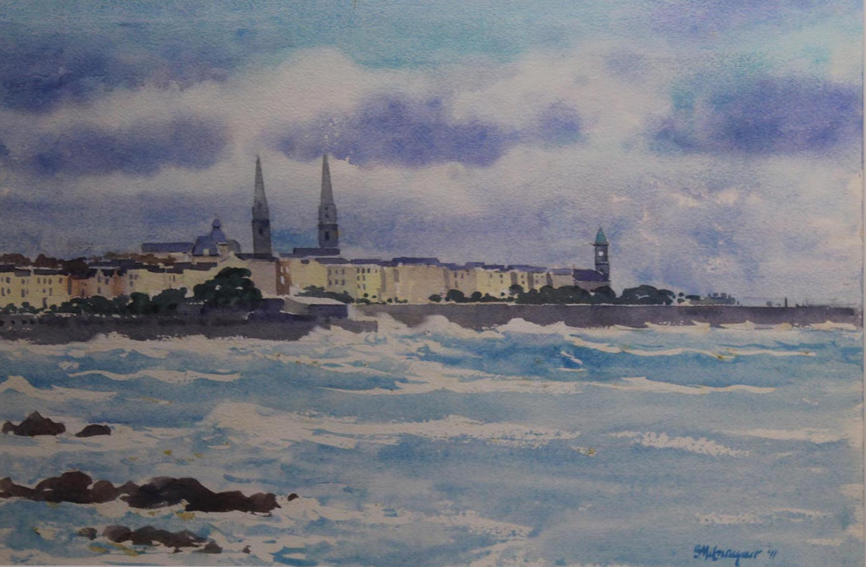 """Lot 58 - Brett McEntaggert VIEW OF DUN LAOGHAIRE Watercolour, 12"""" x 17"""" (30.5 x 45.7 cm), signed & dated"""