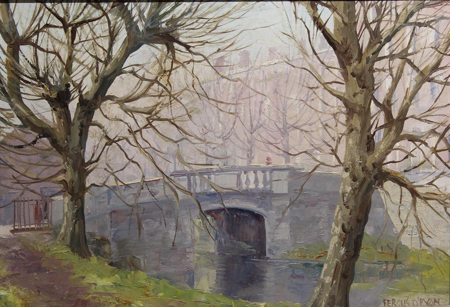 "Lot 47 - Fergus O'Ryan MISTY MORNING, HUBBAND BRIDGE Oil on board, 9 1/2"" x 14"", (24.1cm x 35.5 cm),"