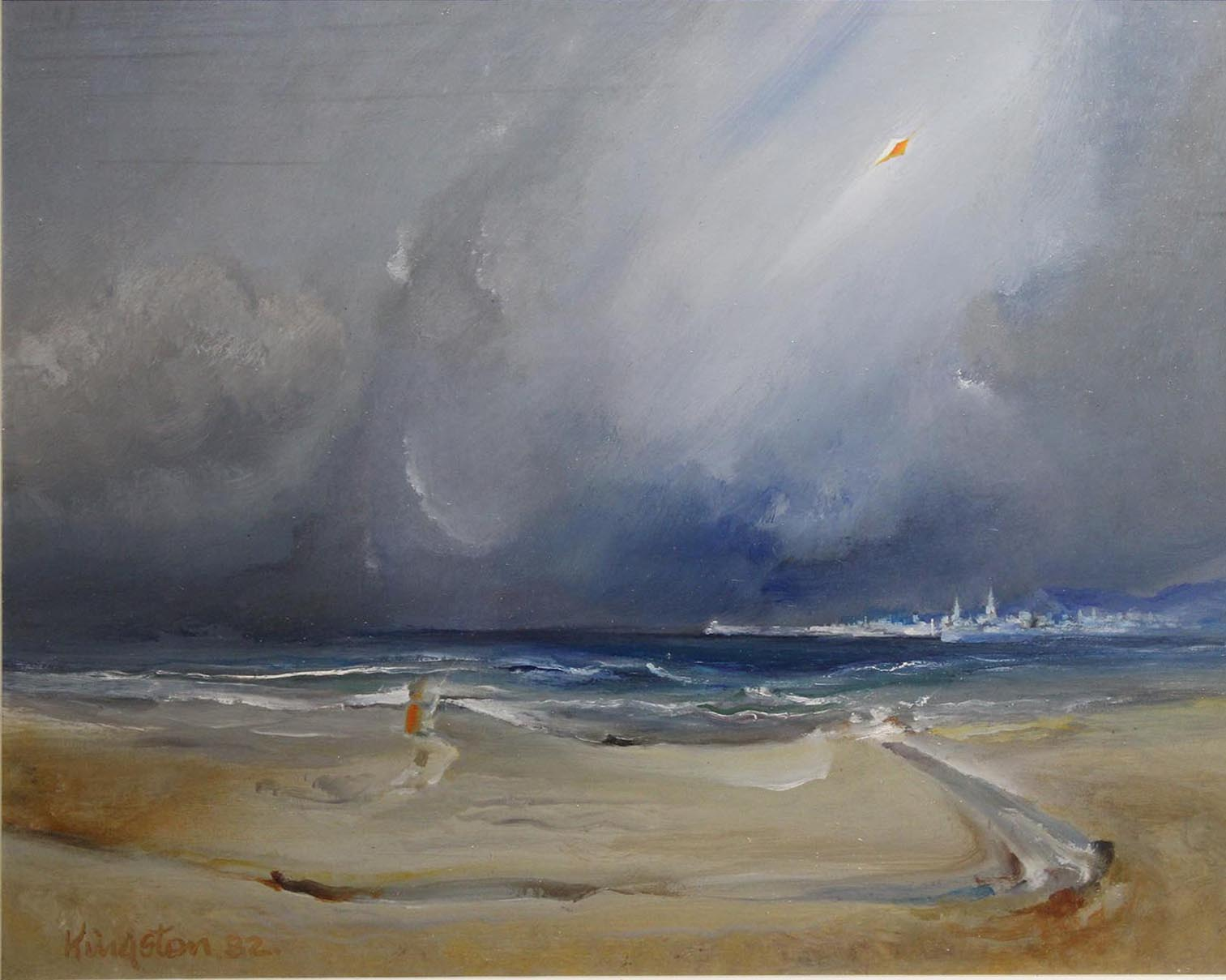 "Lot 54 - Richard Kingston SPACE FOR THE KITE FLYER Oil on board, 15"" x 18 1/2"" (38.1 x 46.4 cm), signed &"