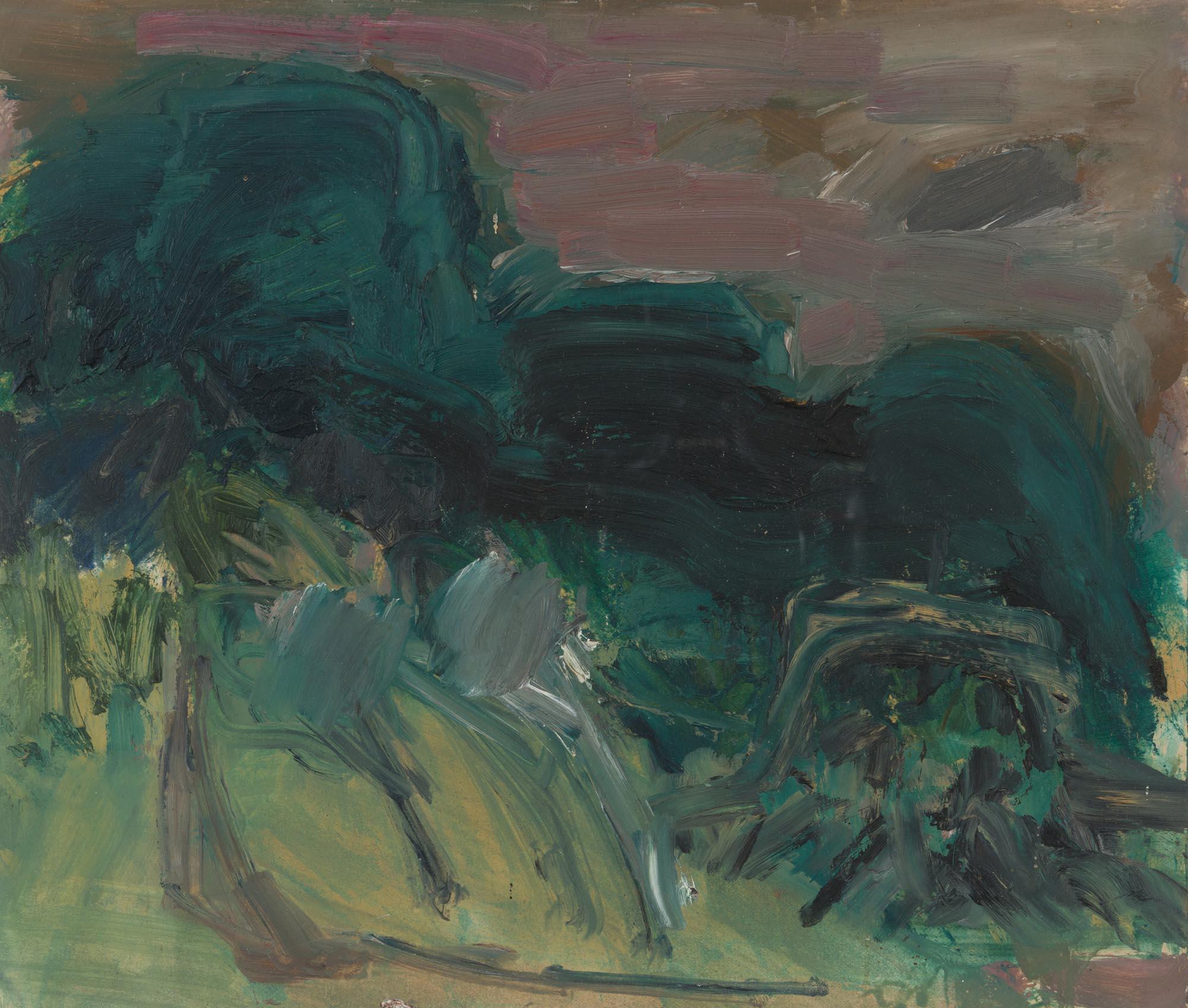 "Lot 7 - Basil Blackshaw HRHA HRUA 1932-2016 WOODED LANDSCAPE Oil on board, 10 1/4"" x 12"" (26 x 30.5 cm),"