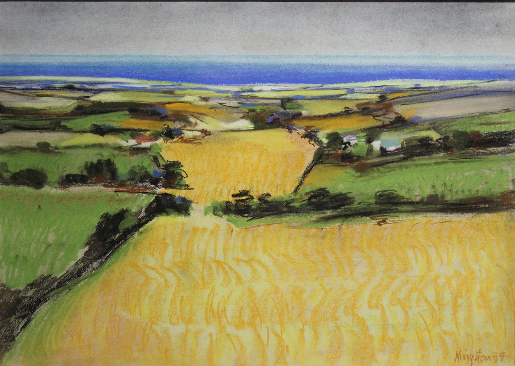 "Lot 52 - Richard Kingston GOLDEN FIELDS Pastel, 12"" x 16 1/2"" (30.5 x 42 cm), signed and dated 1979"