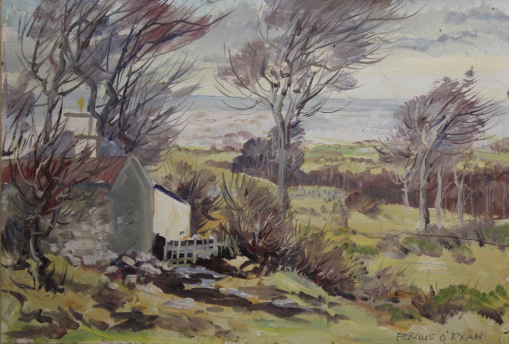 """Lot 49 - Fergus O'Ryan COUNTRY COTTAGE Oil on board, 10"""" x 14 1/2"""" (25.5 x 38.8 cm), signed"""