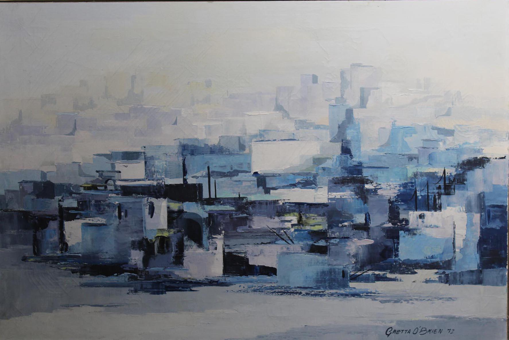 "Lot 10 - Gretta O'Brien UNTITLED Oil on canvas laid on board, 19 1/4"" x 29"" (49 x 73.6 cm), signed"