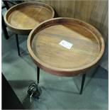 L2: 2 WOODEN ROUND OFFICE SIDE TABLES
