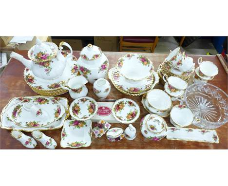 Royal Albert Old Country Roses china, forty seven pieces and a Royal Albert crystal glass bowl, teapot, lidded jar, (vase and