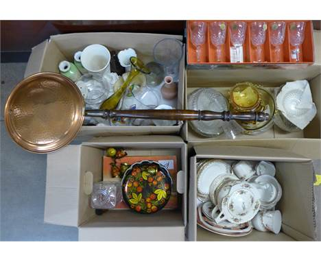 A copper warming pan, a box of glass and china vases, Meakin part teaset, teapot a/f, box of mixed glass, Ravenshead glass, C