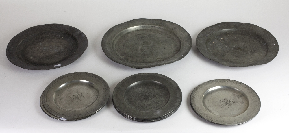 "Lot 55 - A large 19th Century pewter Dish, 41.5cms (16 1/4"") diameter; two ditto 37."