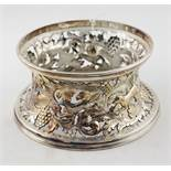 A good quality heavy pierced and embossed silver plated late 19th Century Dish Ring,