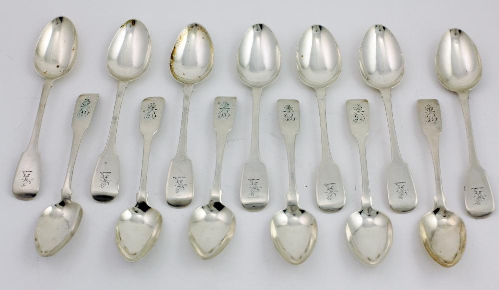 Lot 2 - A set of late George III Irish silver Dessert Spoons, Dublin c.
