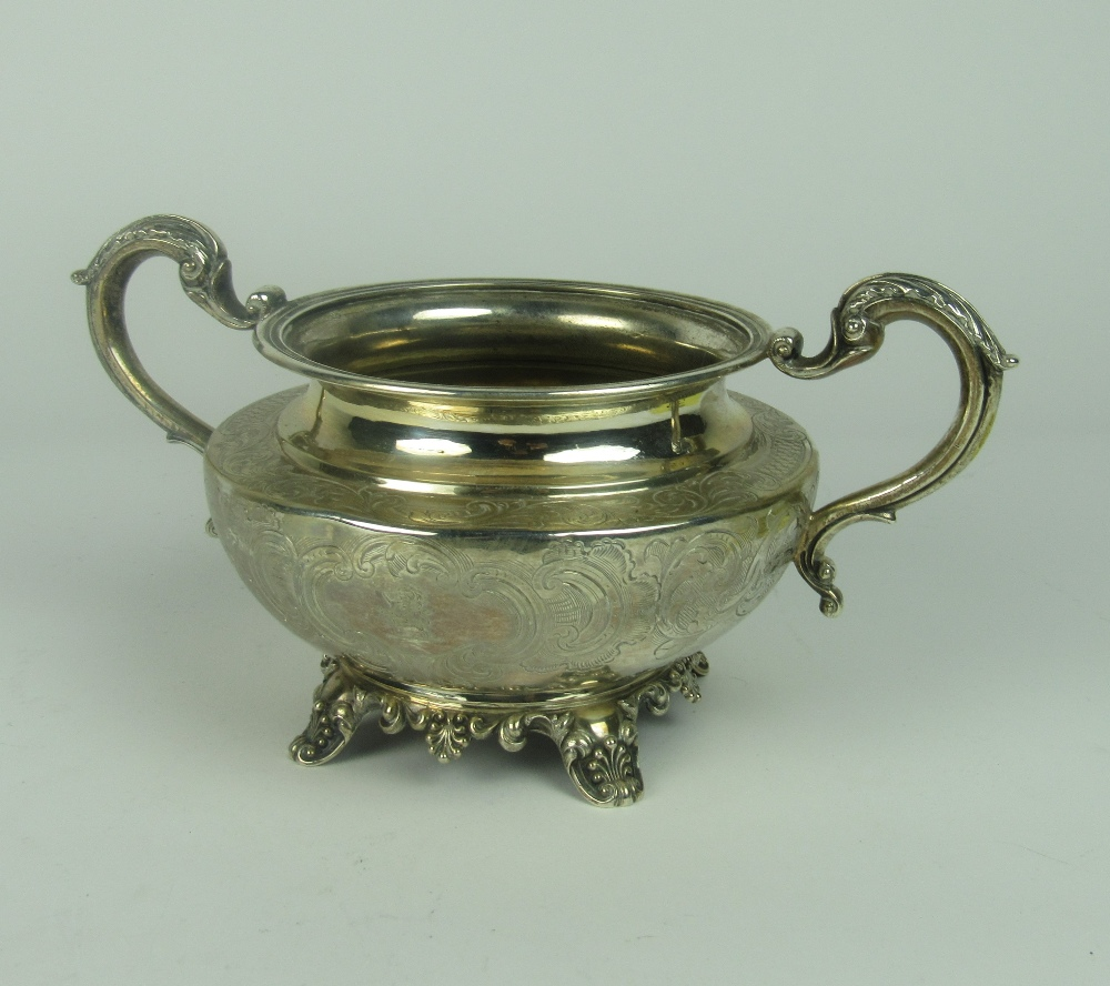 Lot 38 - A late William IV English silver Sugar Bowl, with two dolphin head handles,