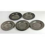 A very good early 19th set of 6 English Pewter Plates, by Richard Yates, Shoreditch, London,