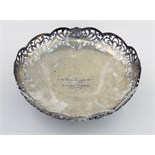 An attractive circular pierced English silver Fruit Bowl, of low proportions, Sheffield 1947,