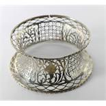 An antique Irish pierced silver Dish Ring, with gadroon rims, approx.
