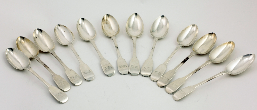 Lot 1 - A very good matching set of 12 English William IV silver Serving Spoons, possibly by George Webb,