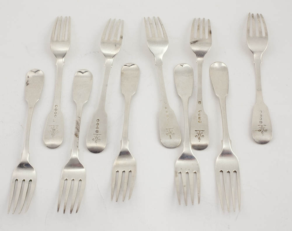 Lot 13 - A set of 10 almost matching antique Irish & English silver Tea Forks, each with matching crest,