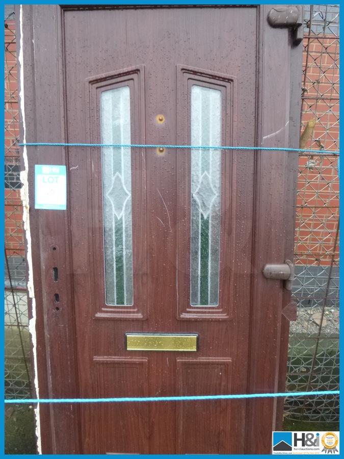 Brown upvc front door reclaimed c w frame and glass for Reclaimed upvc doors