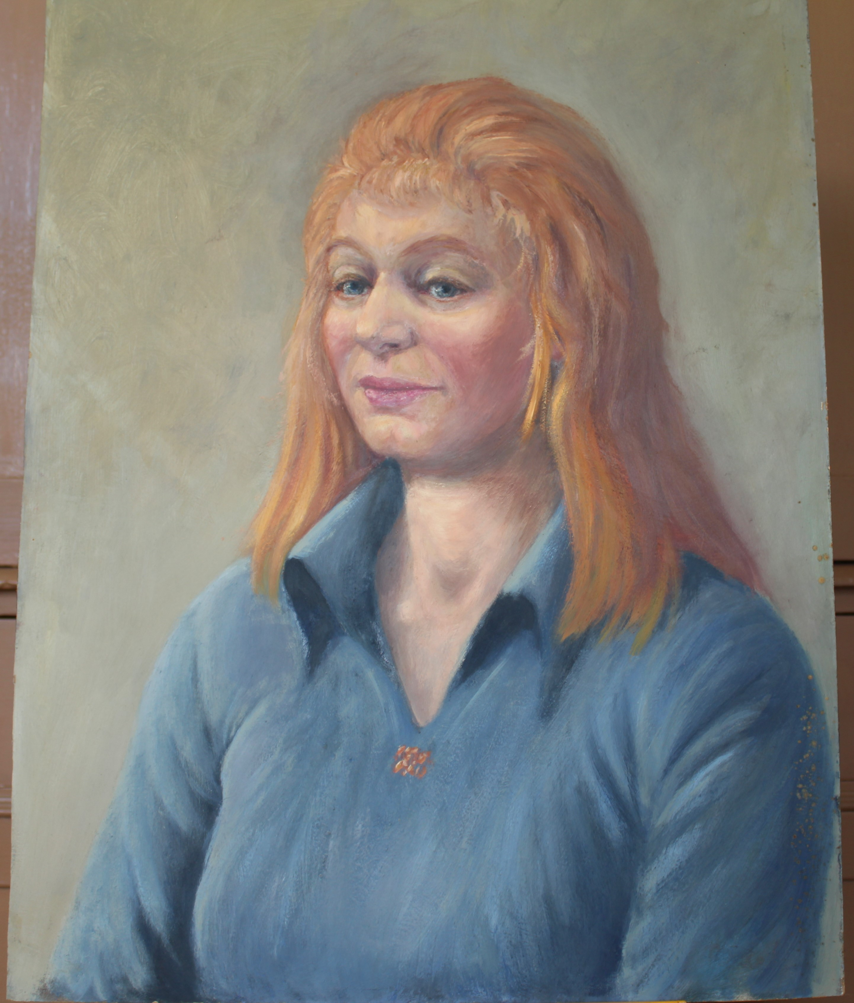•PORTRAIT OF A WOMAN WEARING A BLUE TOP Unsigned unframed oil on board, 50 x 40.5cm and a collection - Image 7 of 9