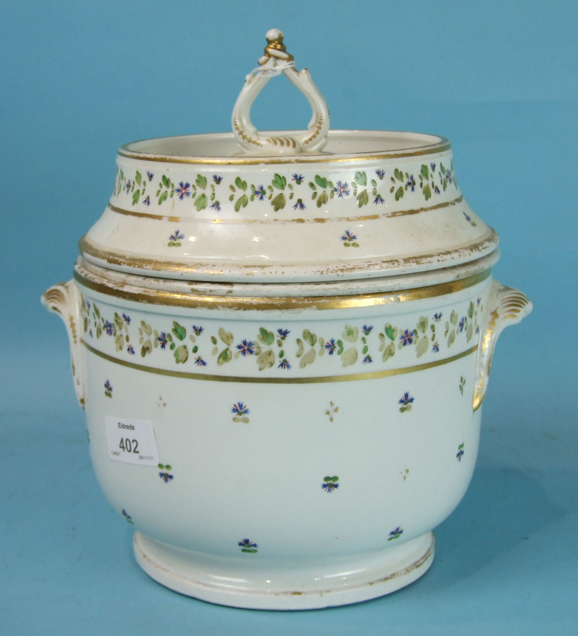 Lot 402 - A 19th century English porcelain ice pail, cover and liner decorated with lightly-scattered