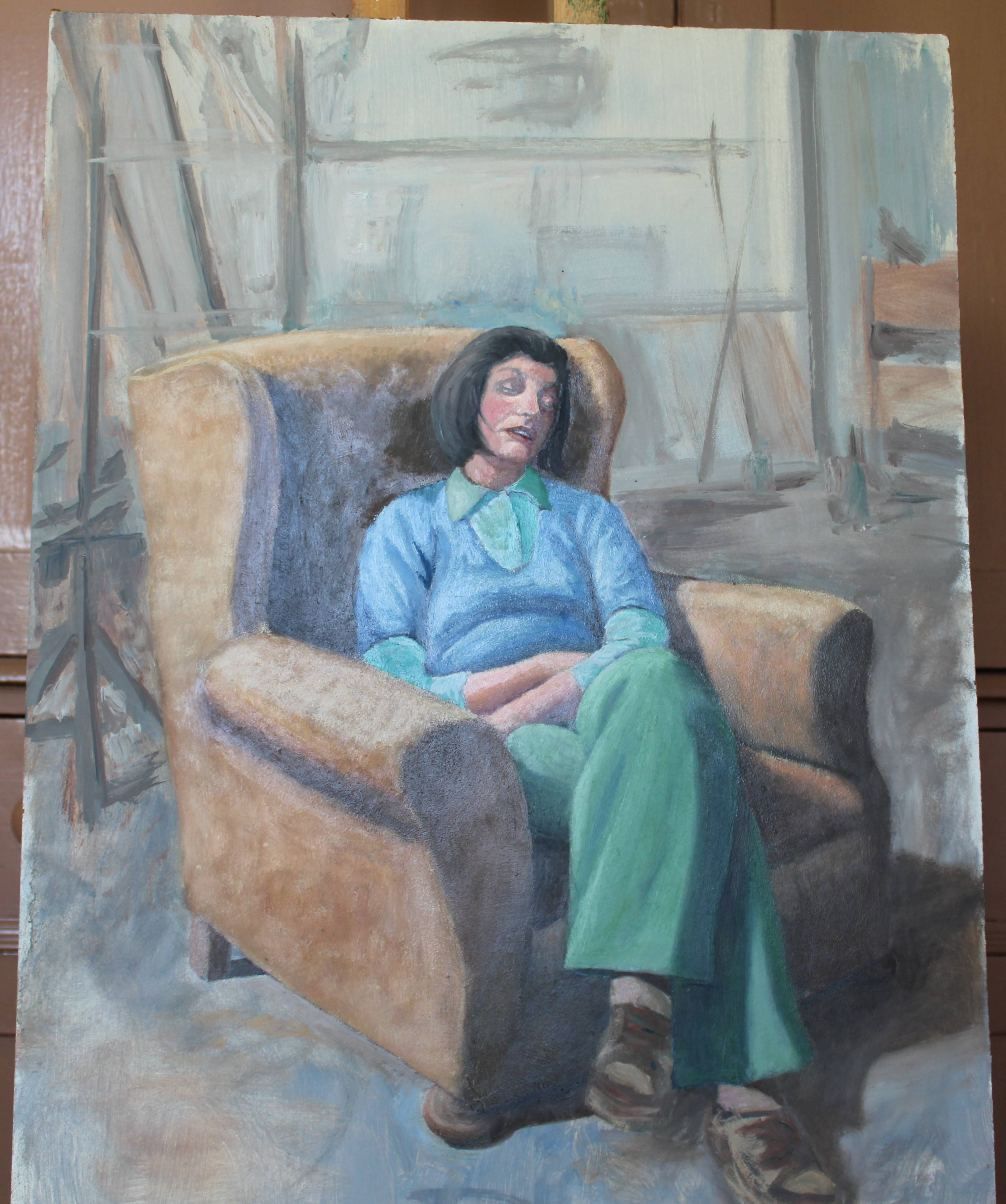 •WOMAN WEARING WHITE BLOUSE Signed unframed oil on board, 50.5 x 40cm, YOUNG WOMAN ASLEEP IN AN - Image 6 of 9