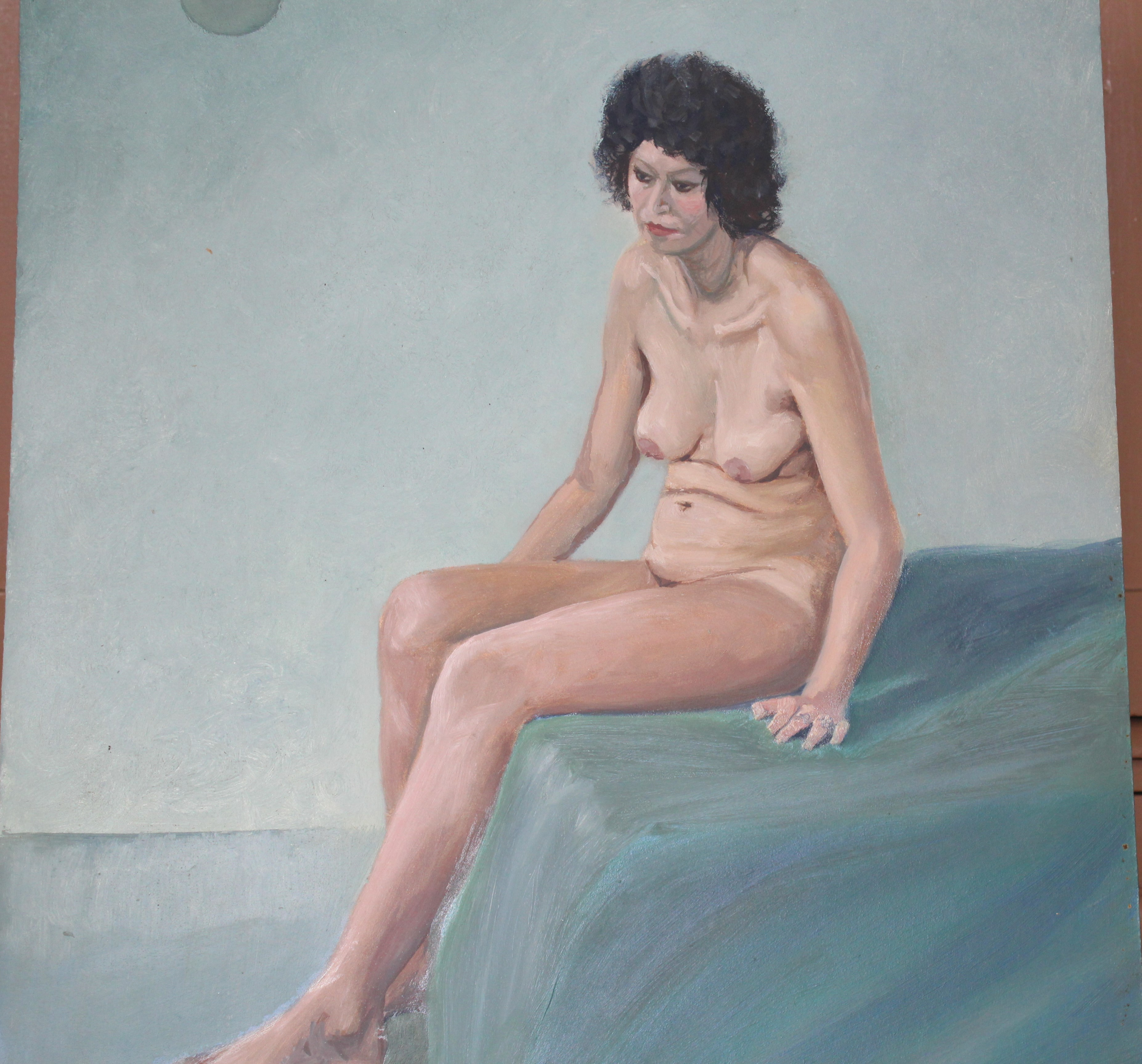 •STUDY OF A NUDE WOMAN IN GREEN-DRAPED ARMCHAIR Unsigned unframed oil on board, 40 x 31cm, STUDY - Image 3 of 7