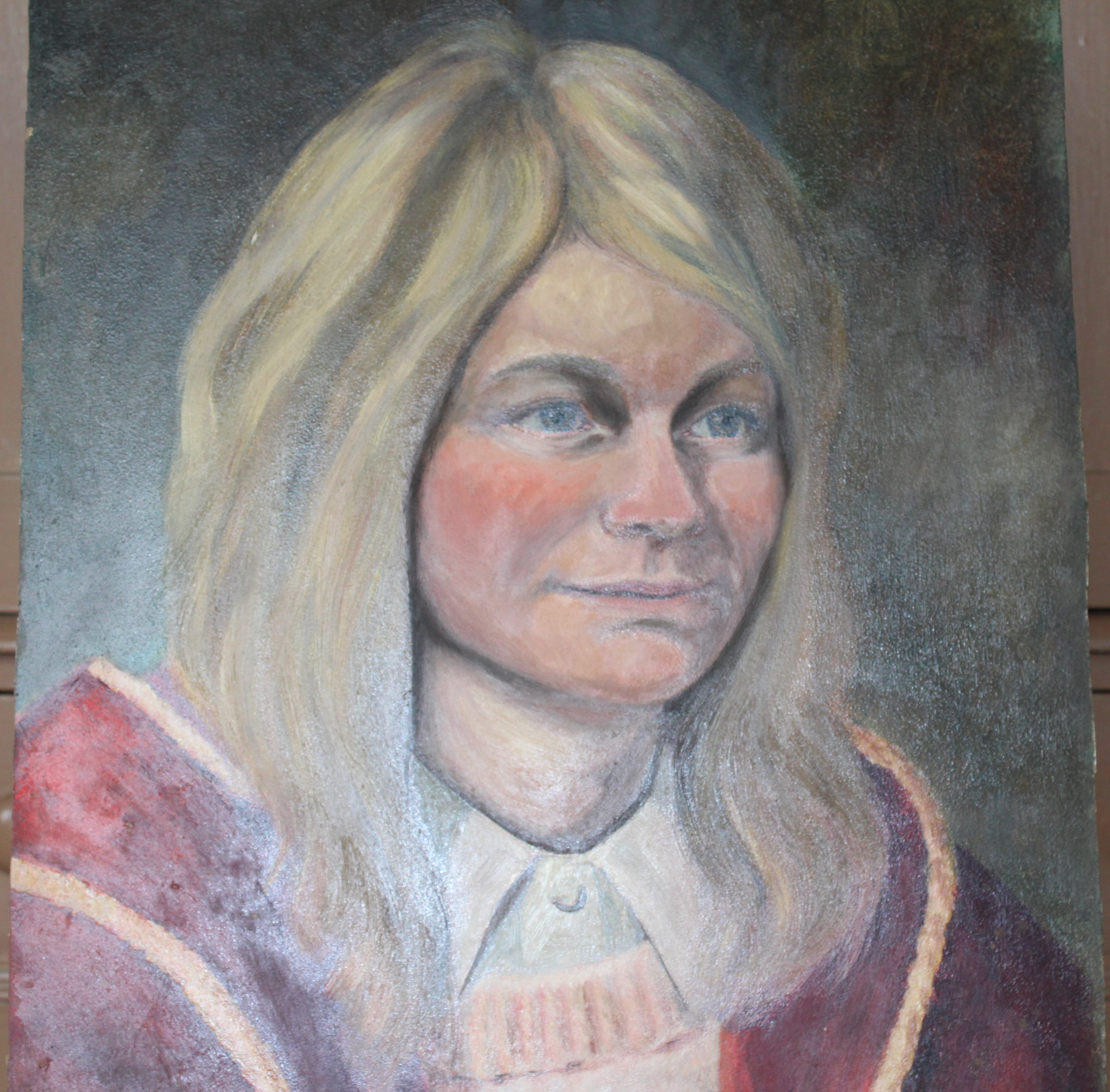 •PORTRAIT OF A WOMAN WEARING A BLUE TOP Unsigned unframed oil on board, 50 x 40.5cm and a collection - Image 5 of 9