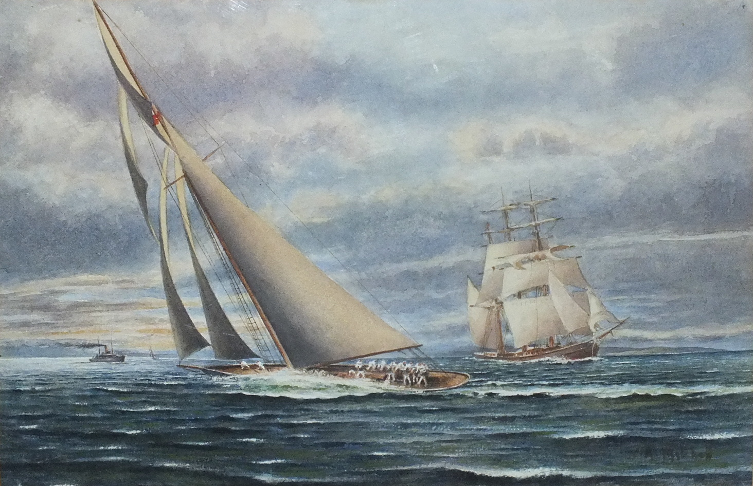 Lot 79 - J A Mitchell? LIPTON'S YACHT SHAMROCK ON THE CLYDE Signed watercolour, inscribed on label