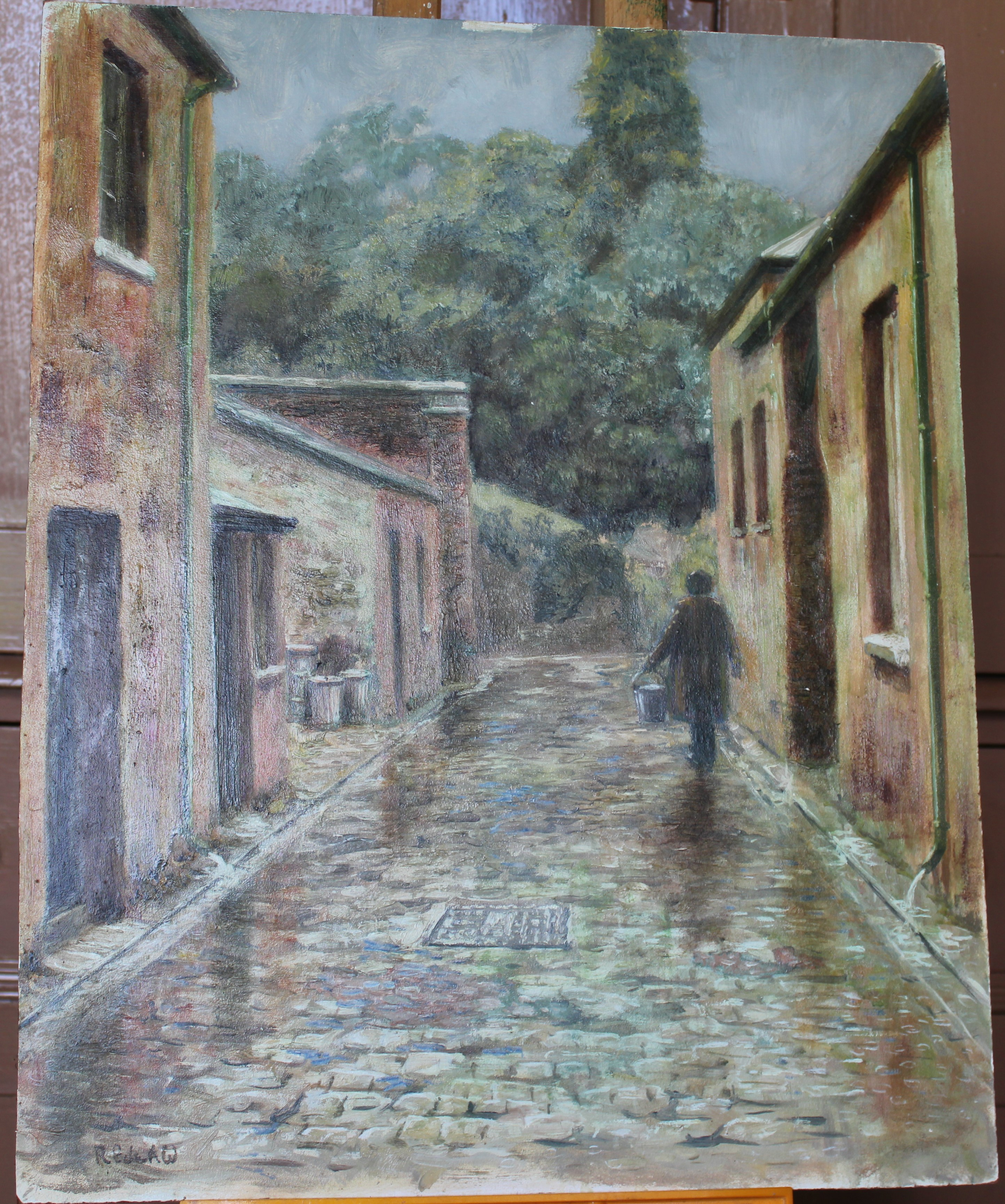 •WILMINSTONE QUARRY Signed unframed oil on board, 45.5 x 61cm, FIGURE WITH BUCKET WALKING ALONG - Image 2 of 4