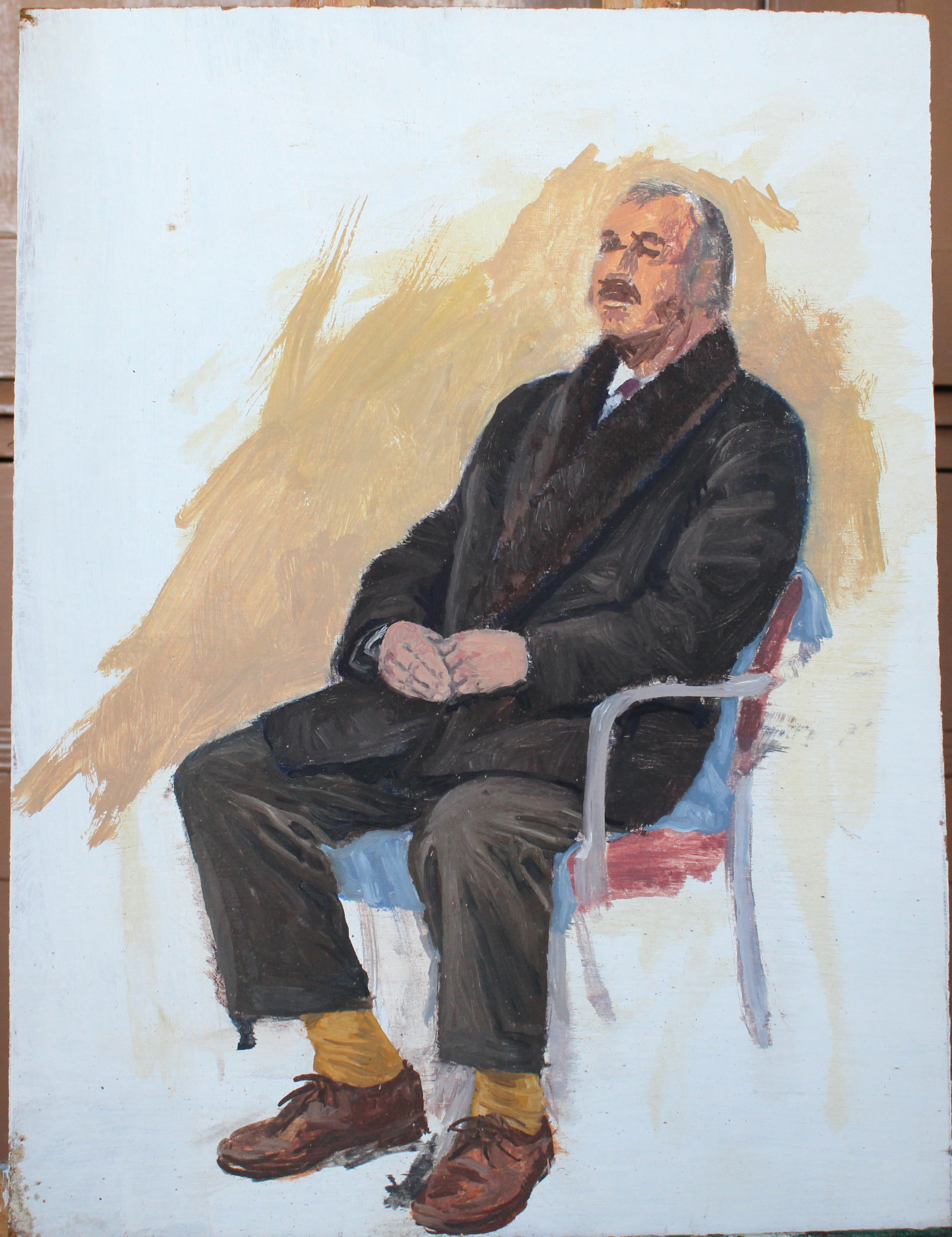 •COMMANDER HAMMET SEATED IN A WING ARMCHAIR Unsigned unframed oil on board, 50.5 x 40.5cm, titled - Image 5 of 8