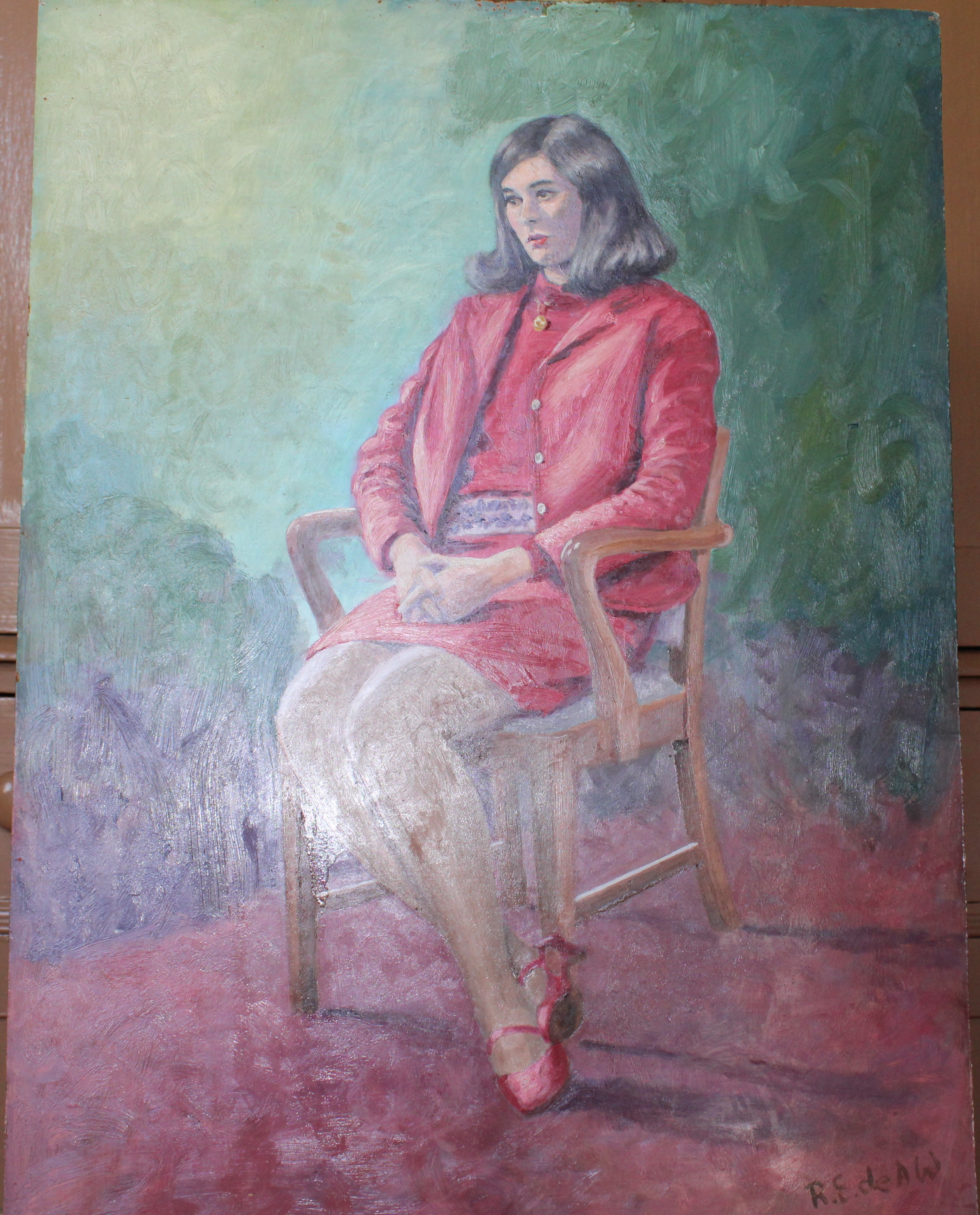 •DAY DREAM, WOMAN SEATED WEARING RED JACKET AND DRESS Signed unframed oil on board, 60 x 44.3cm,