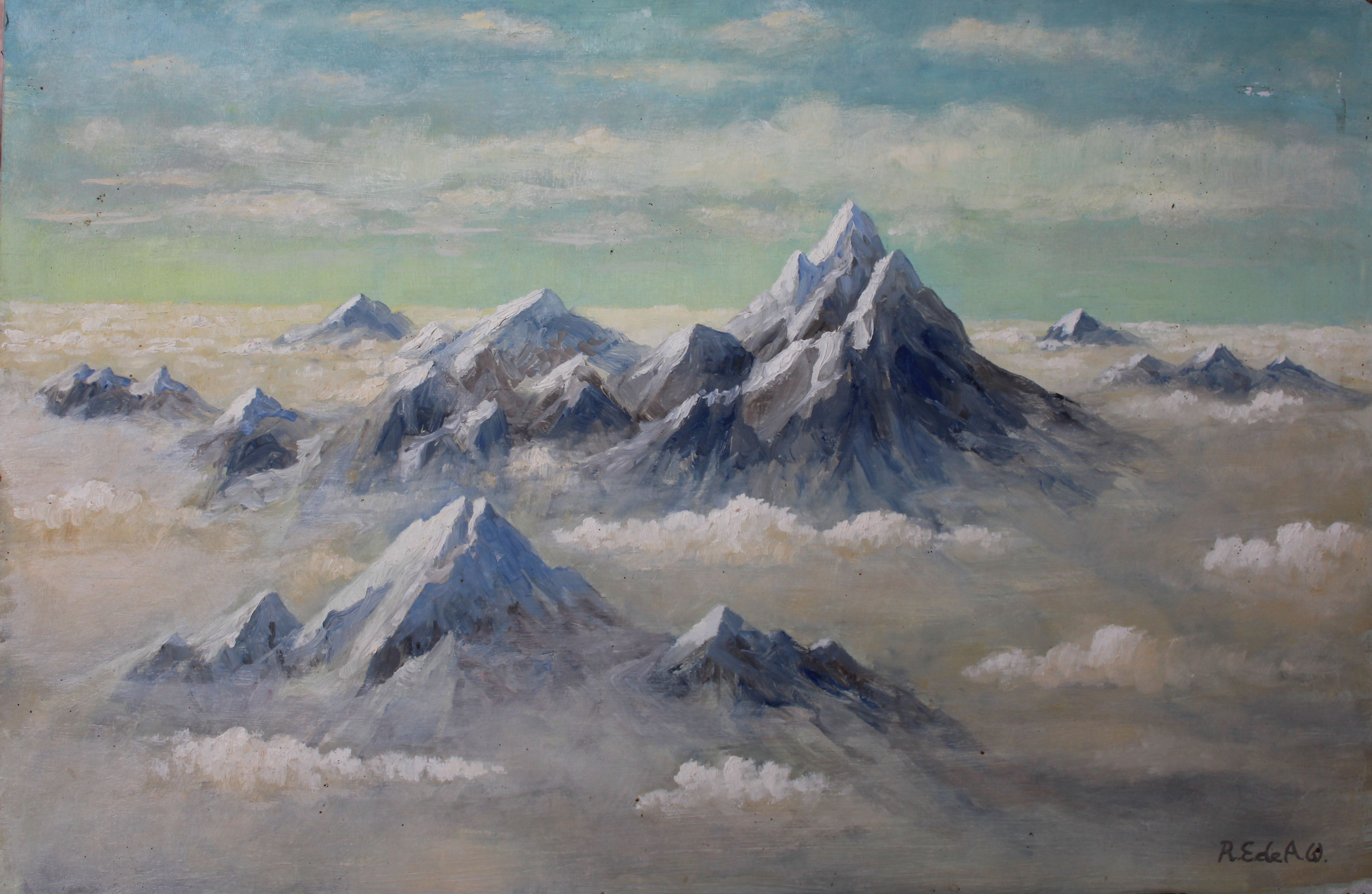 •STUDY OF THE ALPS FROM THE AIR Signed unframed oil on board, 41 x 61cm and another similar view, 30